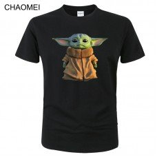 2020 Mandalorian Baby Yoda T Shirt Men Women Summer Cotton Short Sleeve Printed Tops Streetwear Tees Star Wars Cool T-shirt C164
