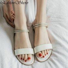 Women Casual Beach Flat Shoes | Rome Style Female Flat Heels Black Sandal