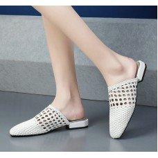 Woman Slippers | Flat Heels Round Toe Slingback Sheepskin Knitting White Summer Ladies Wedding Shoes