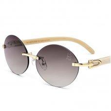 Women's Rimless Luxury Buffalo Horn Round Sunglasses