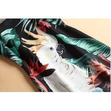 Spring  Dress Newest Fashion Sleeveless Parrot Leaf Print Elegant Dress