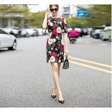Spring Dress | Short Sleeve Flower Print A-Line Above Knee Casual Women's Dress