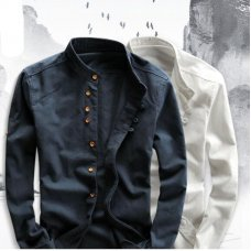 Men's Cotton Linen Shirts Long Sleeve Men Casual Slim Mandarin Collar Shirts High Quality Summer Beach Shirt plus size 6xl