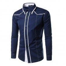 Men's Slim Long Sleeve Shirt Personality Threshold Collar Color Blocking Shirt Men
