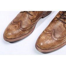 QYFCIOUFU Ankle Boots Men Genuine Cow Leather Skin Brogue Martins boots Shoes Flat men's lace up Fashion vintage Chelsea Boots